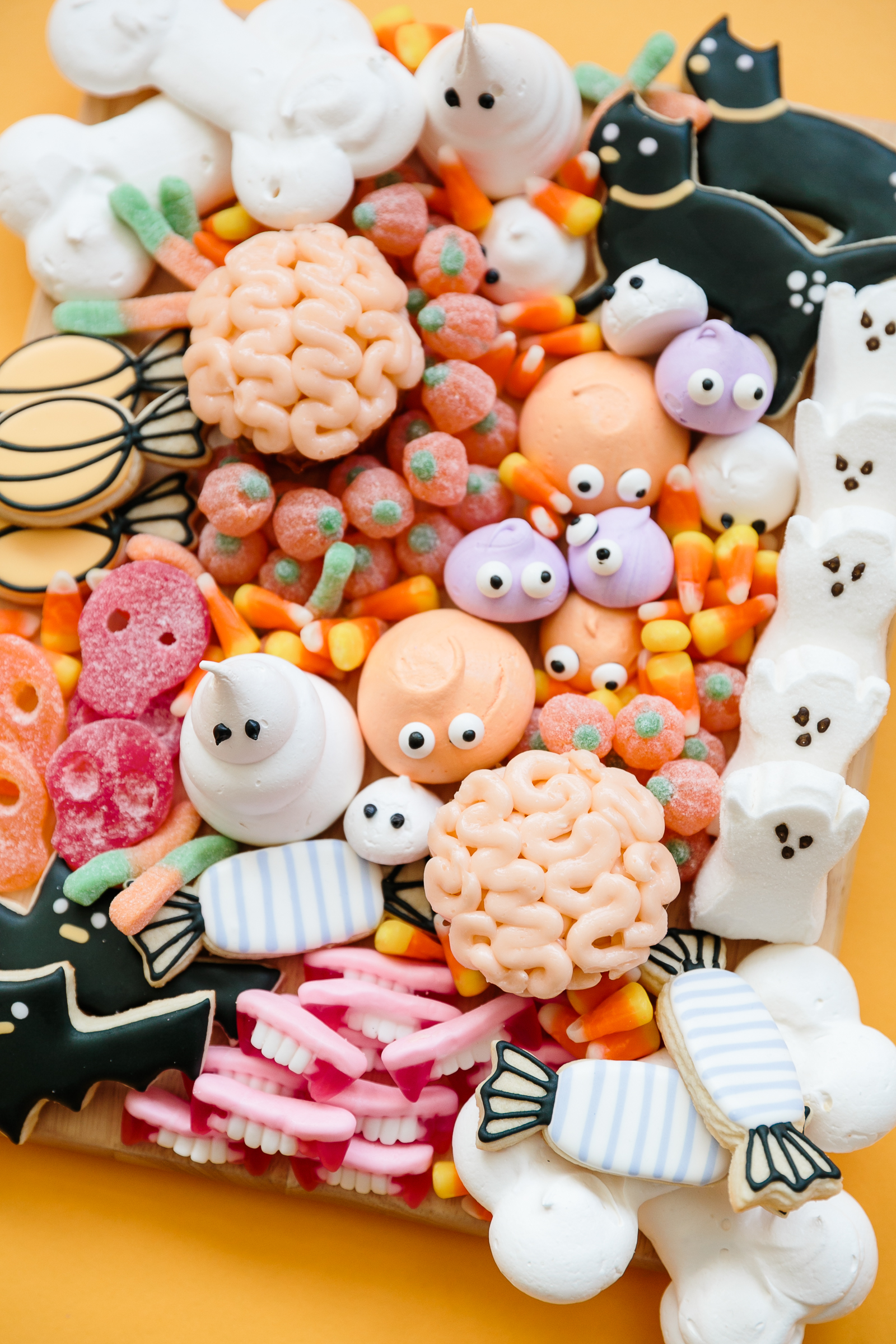 tray of Halloween candy and treats