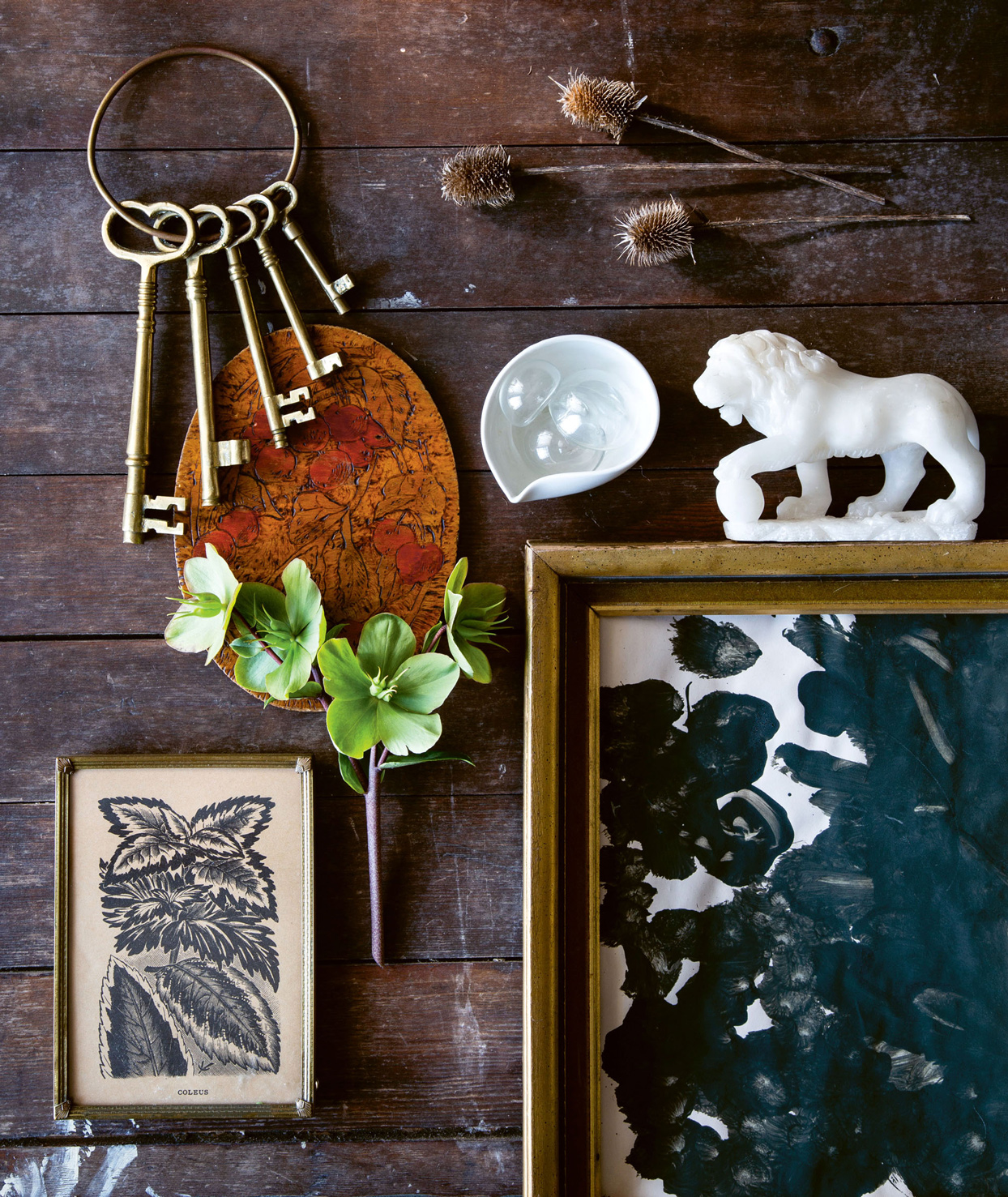 finger painting and personal antique objects