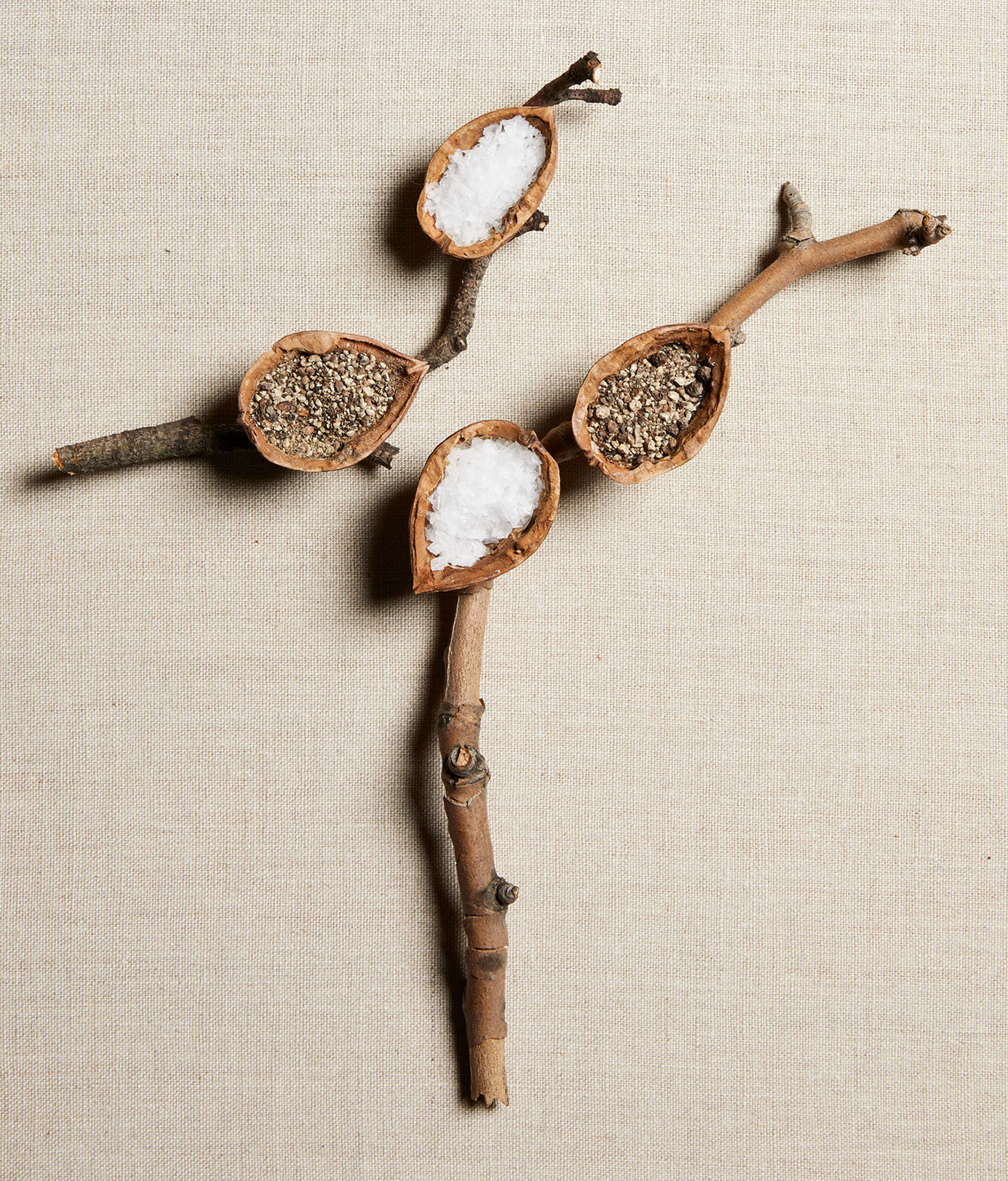 diy shell salt cellars with sticks natural place settings