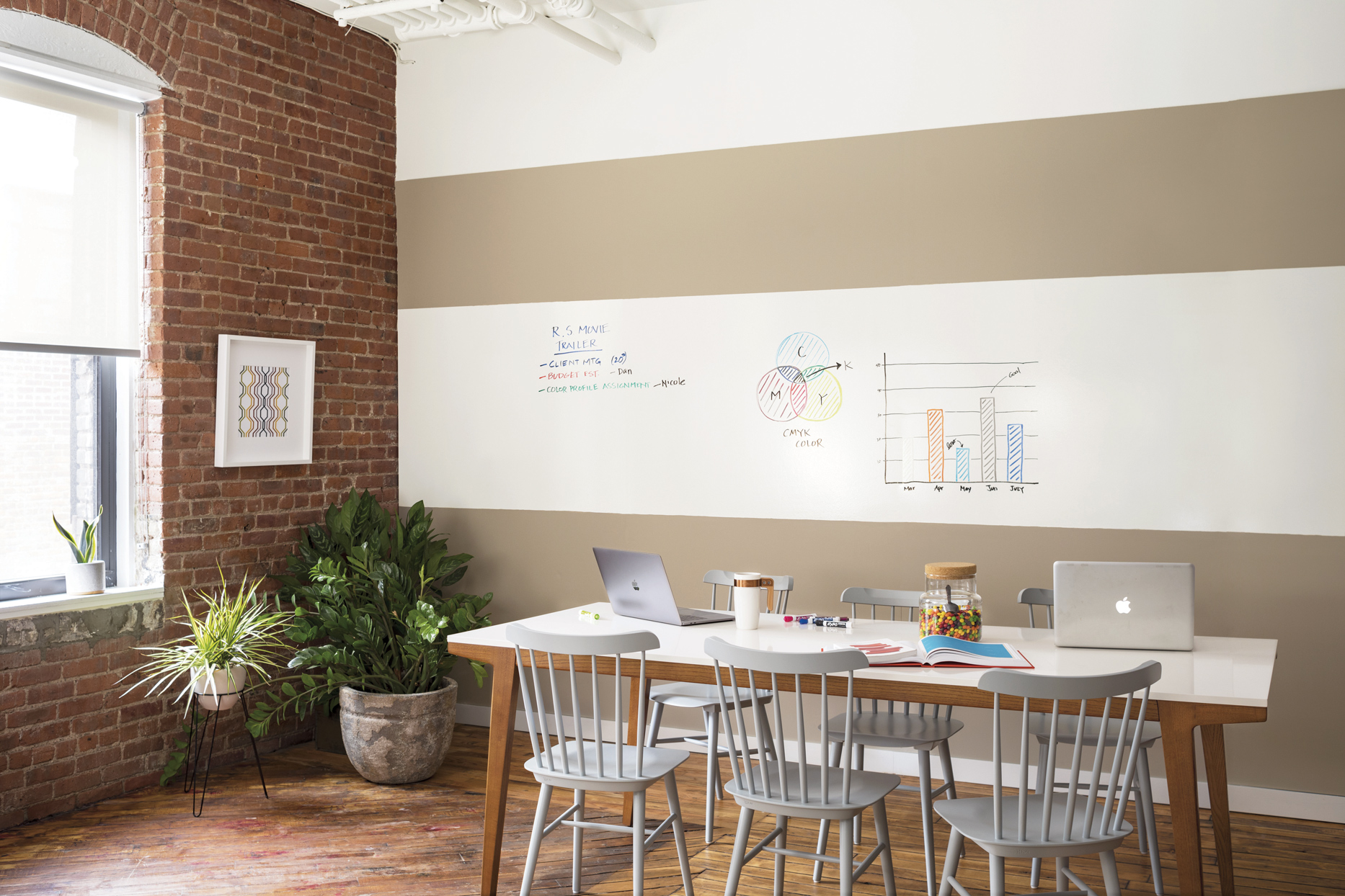 home office with plants and dry-erase wall