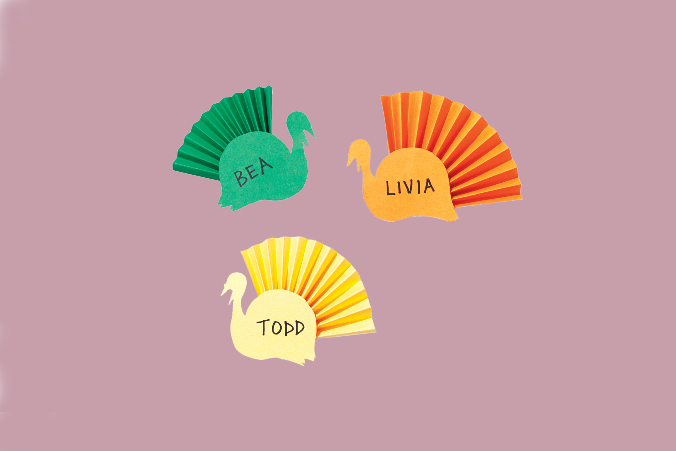 paper cutout turkey placecards
