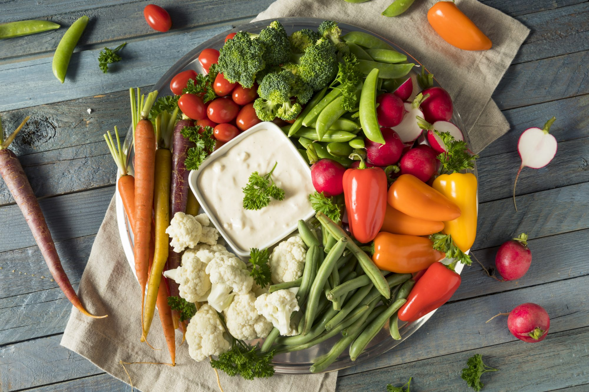 tray of raw vegetables