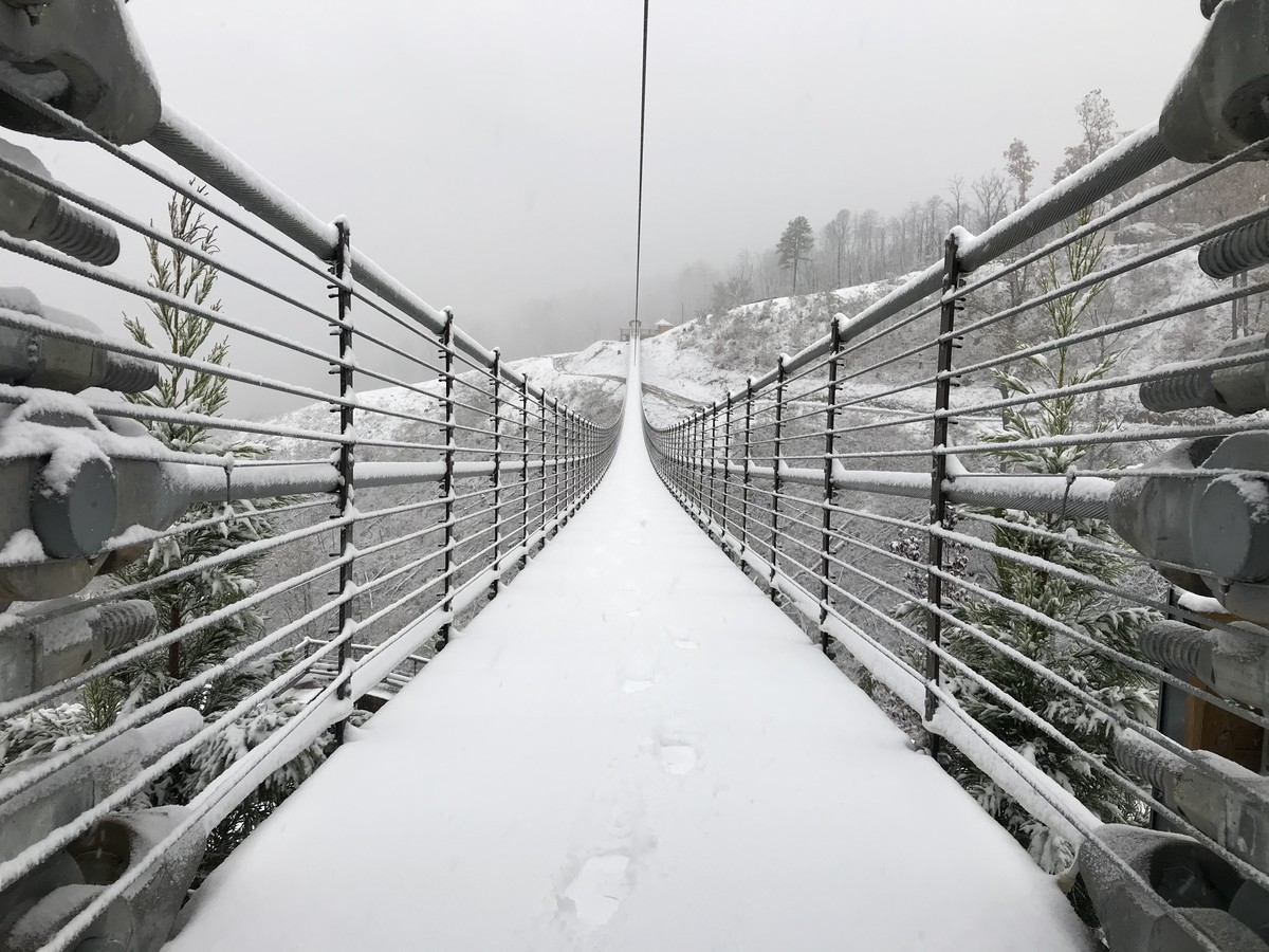 Gatlinburg SkyBridge Looks Straight Out of Winter Wonderland in These Snowy Pictures