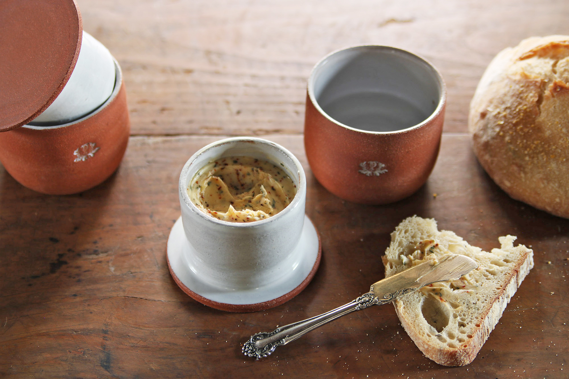 French Butter Crock Handmade Ceramic Made to order Round Sides