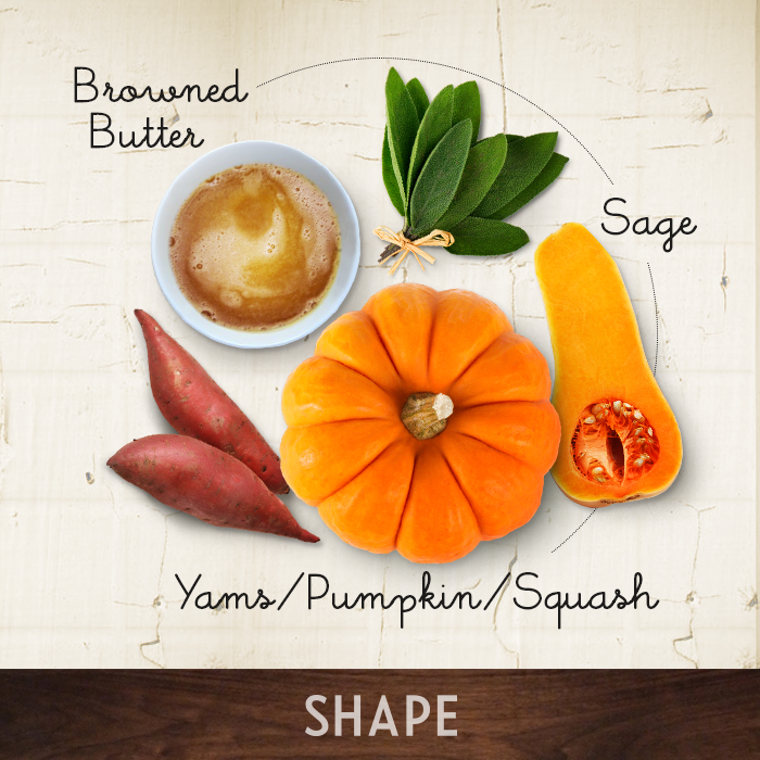 Browned Butter + Sage + Squash/Pumpkin/Yams