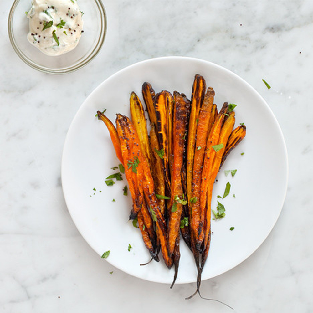 Roasted Carrots and Cilantro Yogurt Sauce