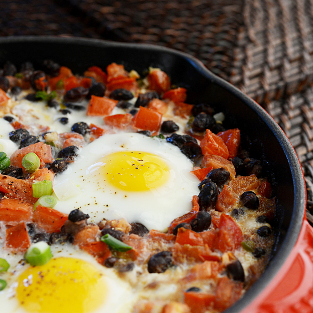Tomato and Black Bean Egg Bake