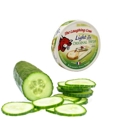 Healthy Snack: Cucumber Slices with Spreadable Light Swiss Cheese