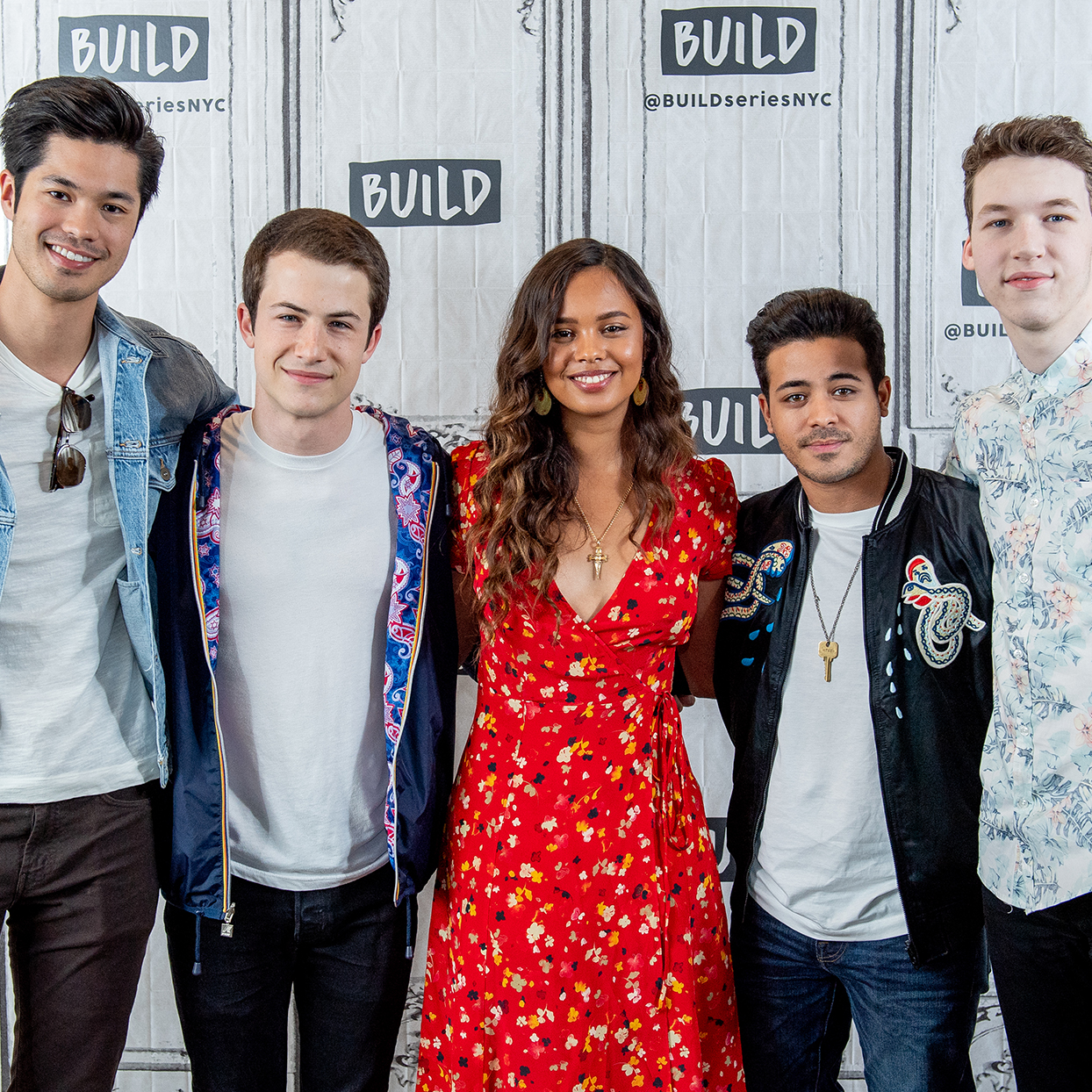 "Ross Butler, Dylan Minette, Alisha Boe, Christian Navarro and Devin Druid discuss ""13 Reasons Why"" with the Build Series at Build Studio on May 22, 2018 in New York City."