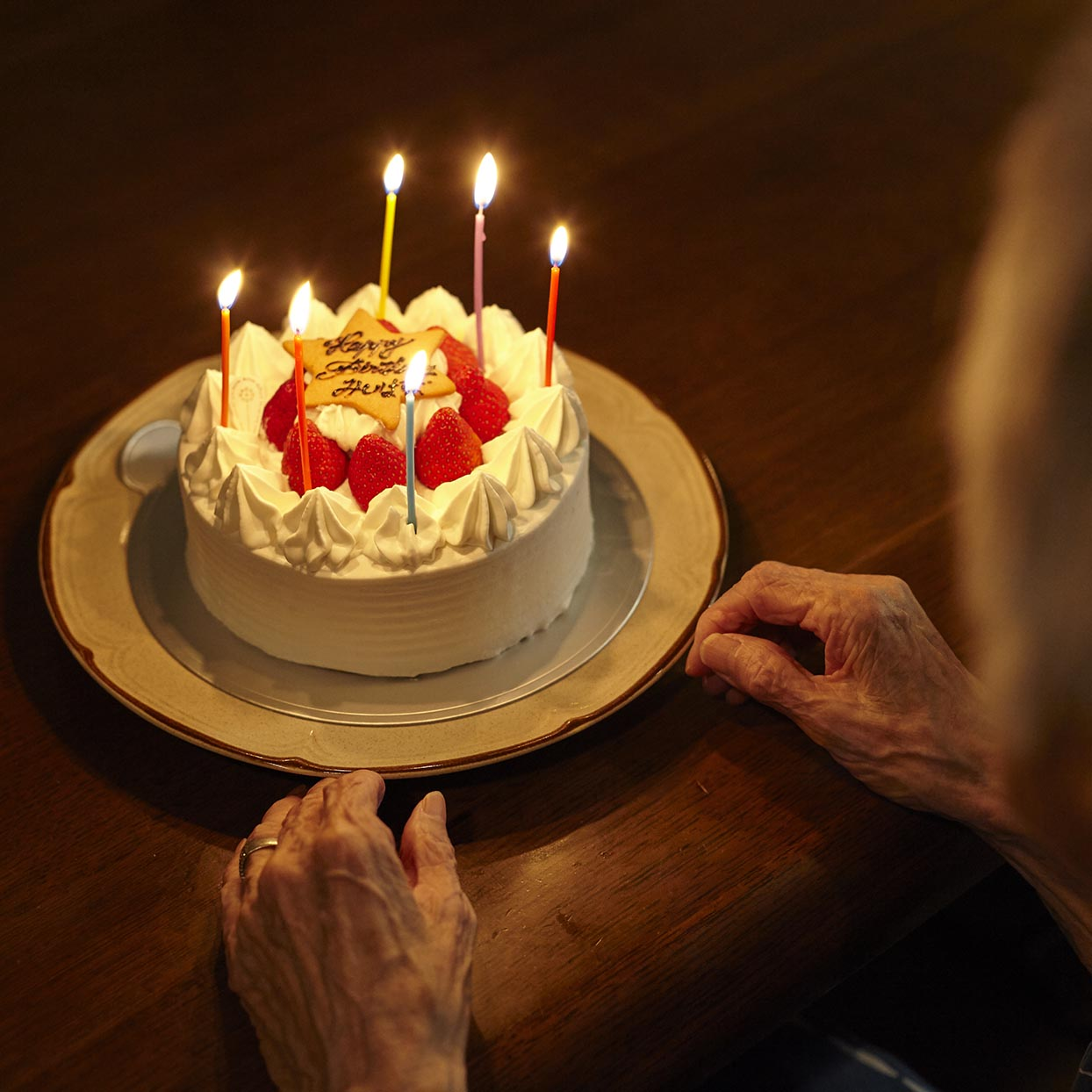 Old woman and cake