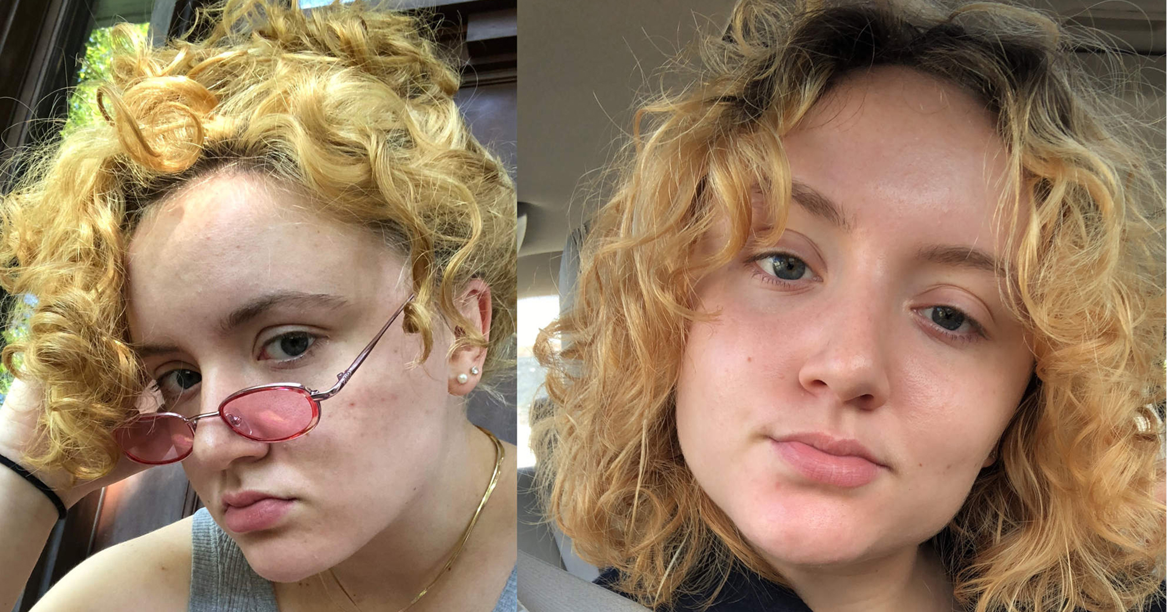 Side-by-side photos of woman