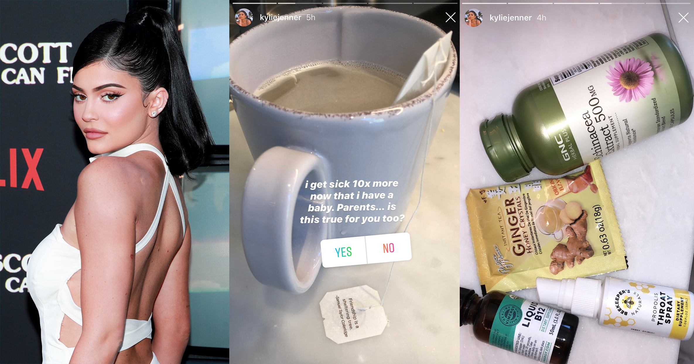 Photo of Kylie Jenner next to screenshots of cup of tea and cold remedies