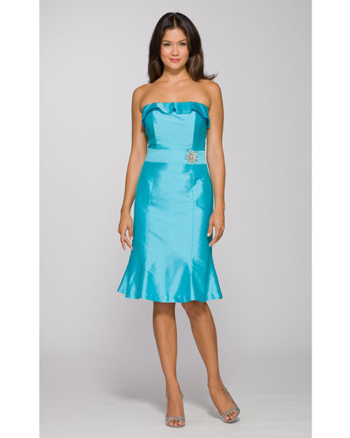 Turquoise Short Strapless Dress