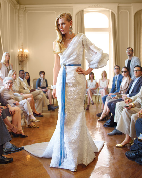 Runway Wedding Dress with a Pop of Color