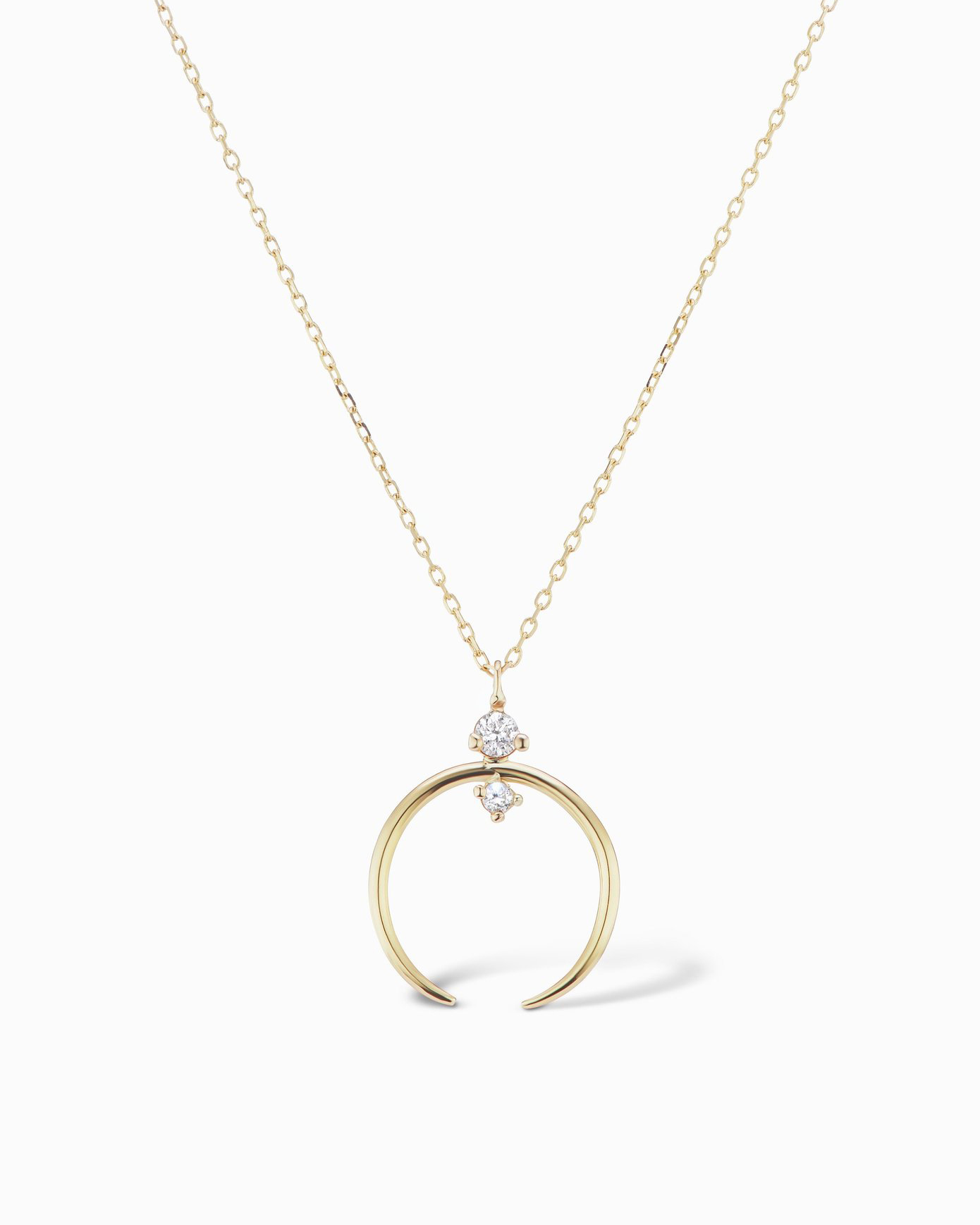 14k gold crescent two diamond necklace