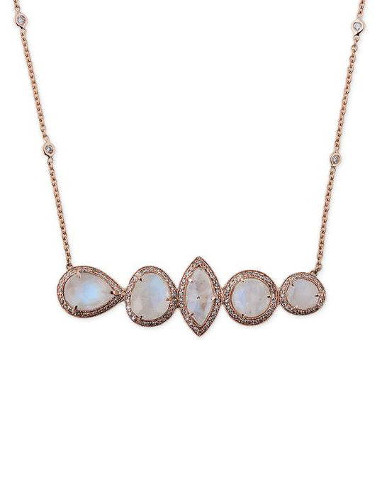 Five Moonstone Shapes Necklace