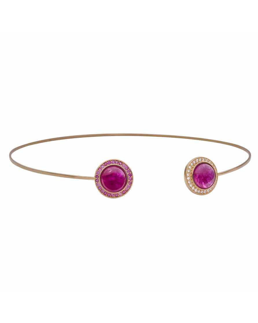 18-Karat Rose Gold Ruby Sapphire and Diamond Choker