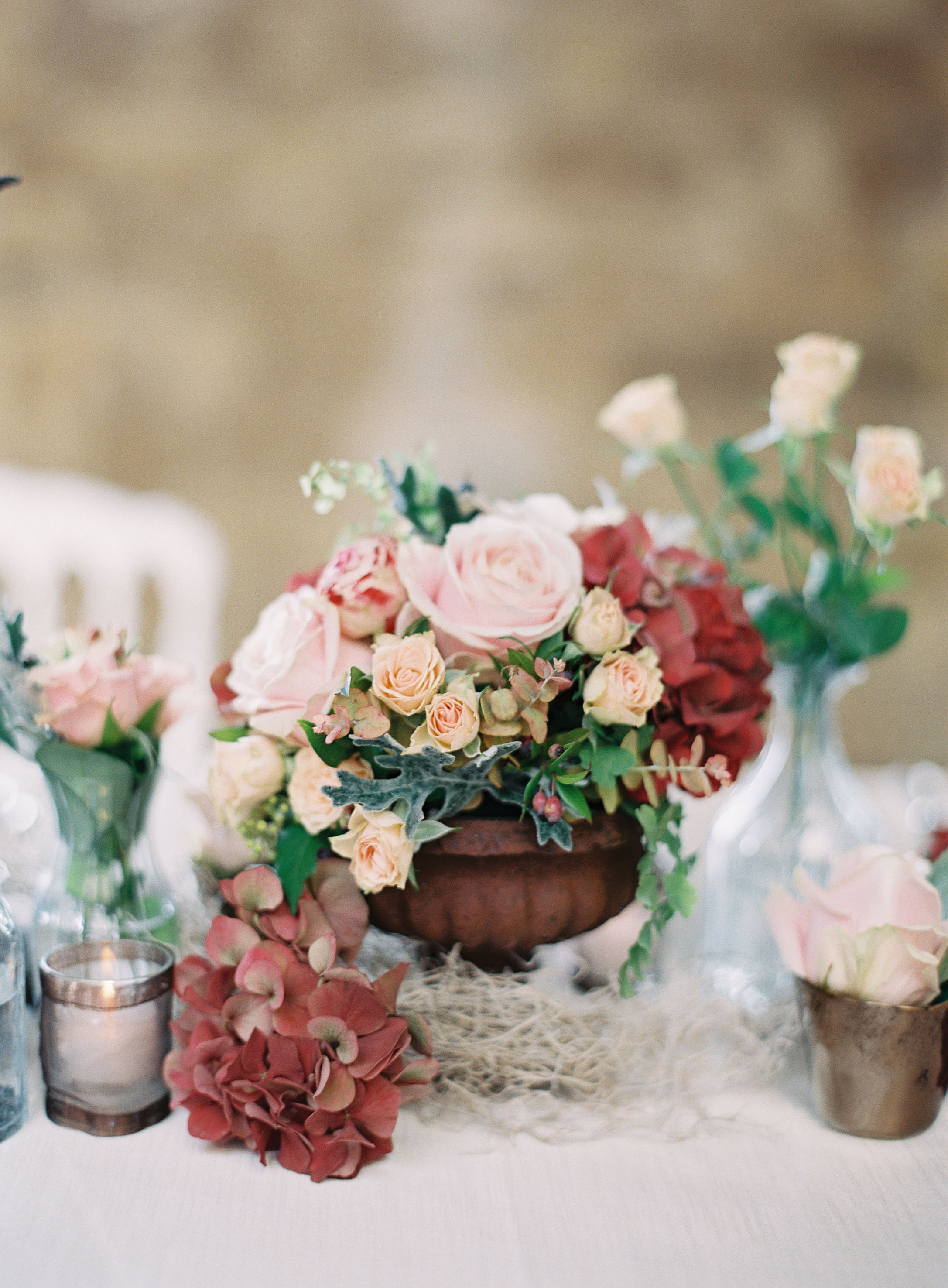 Rose and Hydrangea Cluster Centerpieces in Footed Bowls with Bud Vases