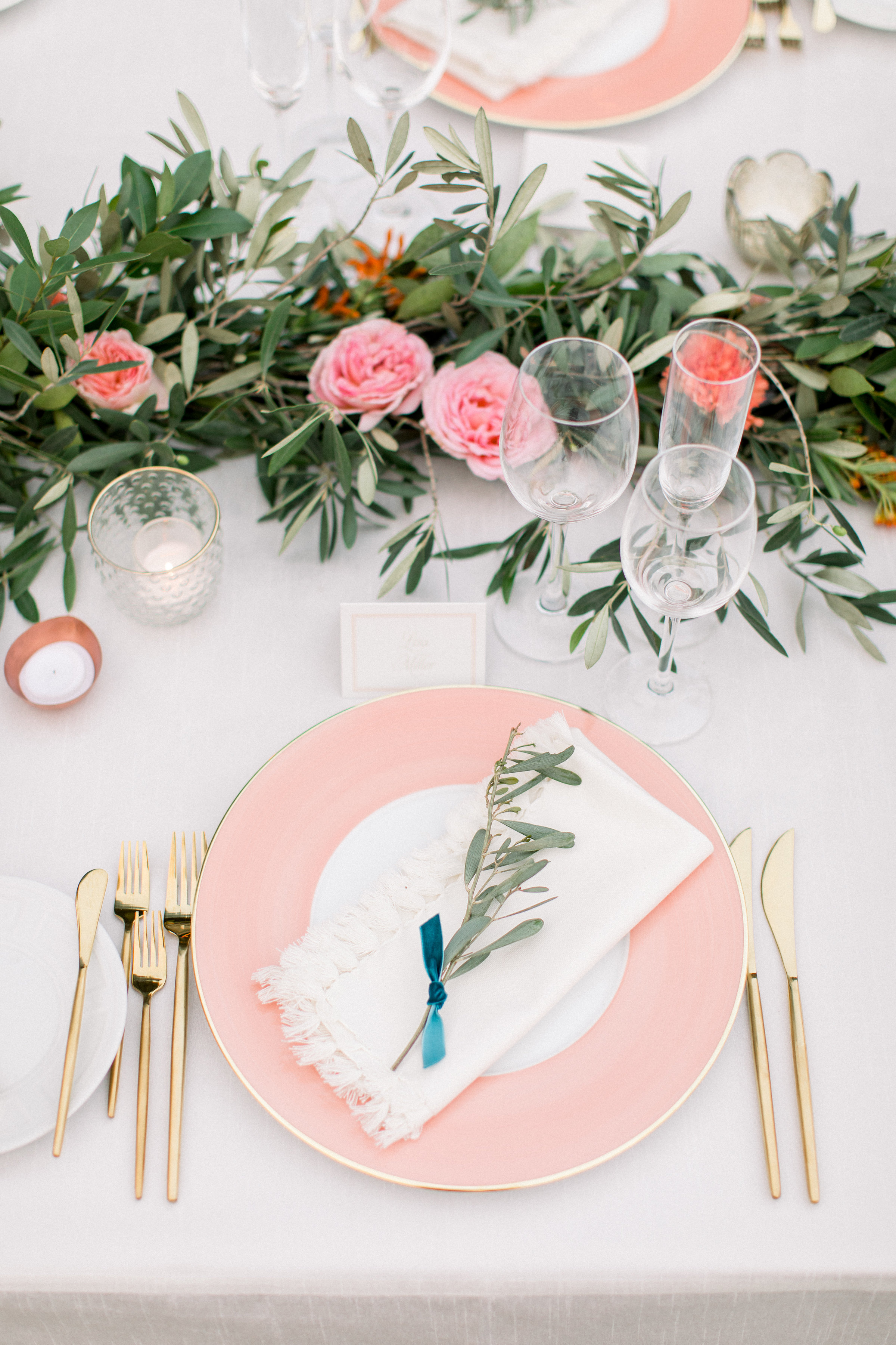garland centerpiece with pink garden roses