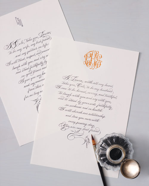 Calligraphed Wedding Vows