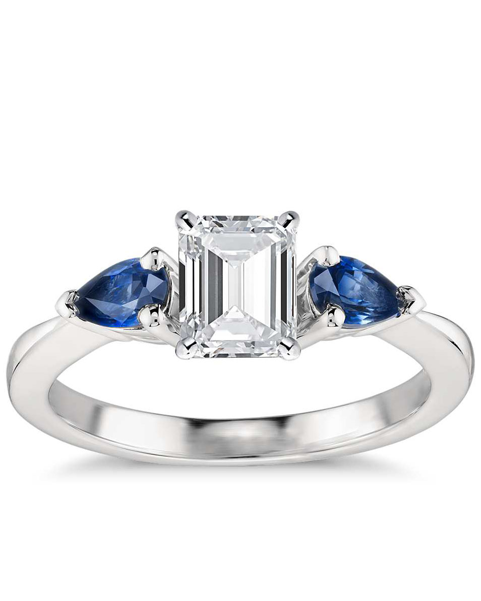 emerald cut ring platinum band with pear shaped sapphires