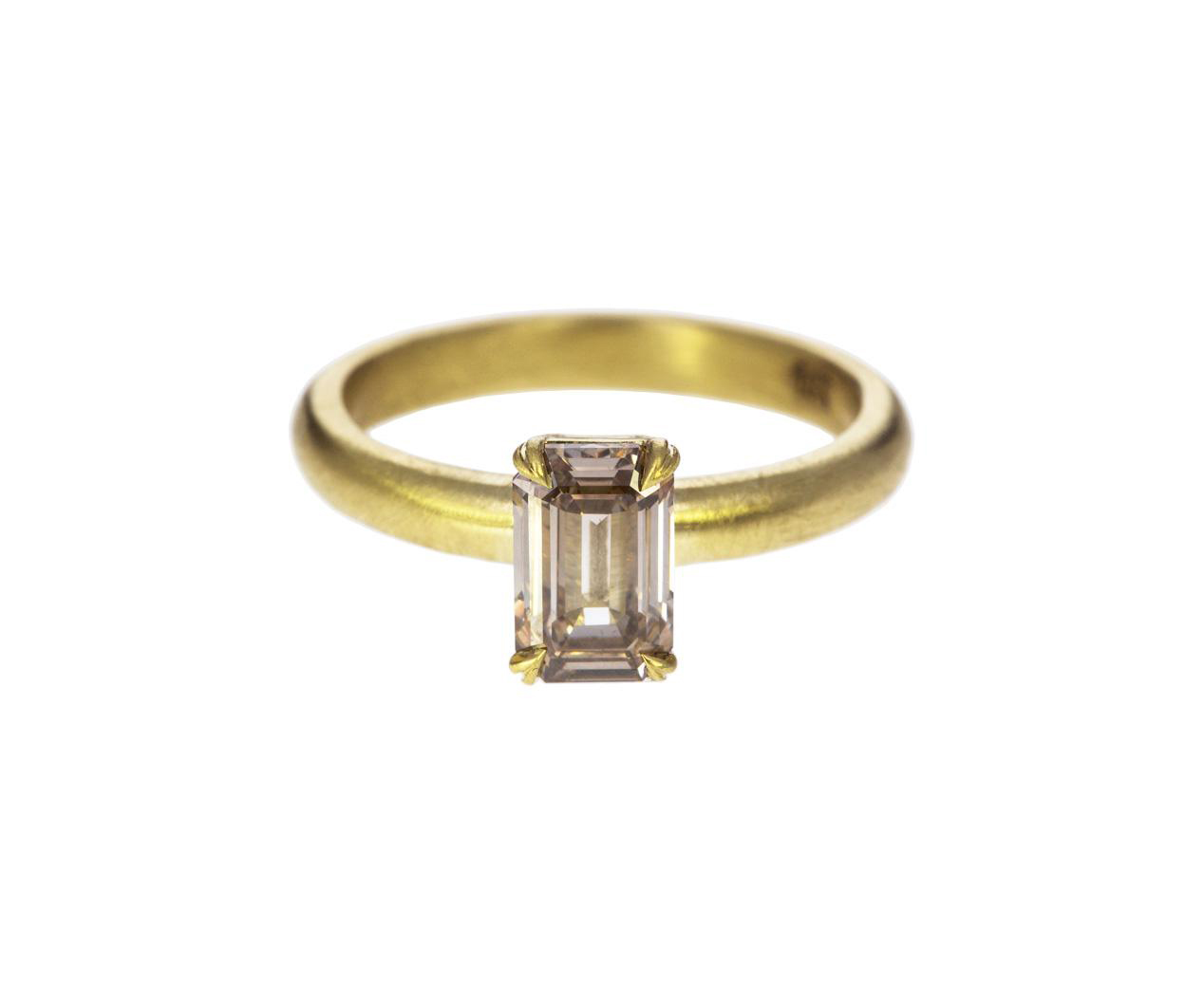emerald cut ring matte yellow gold band