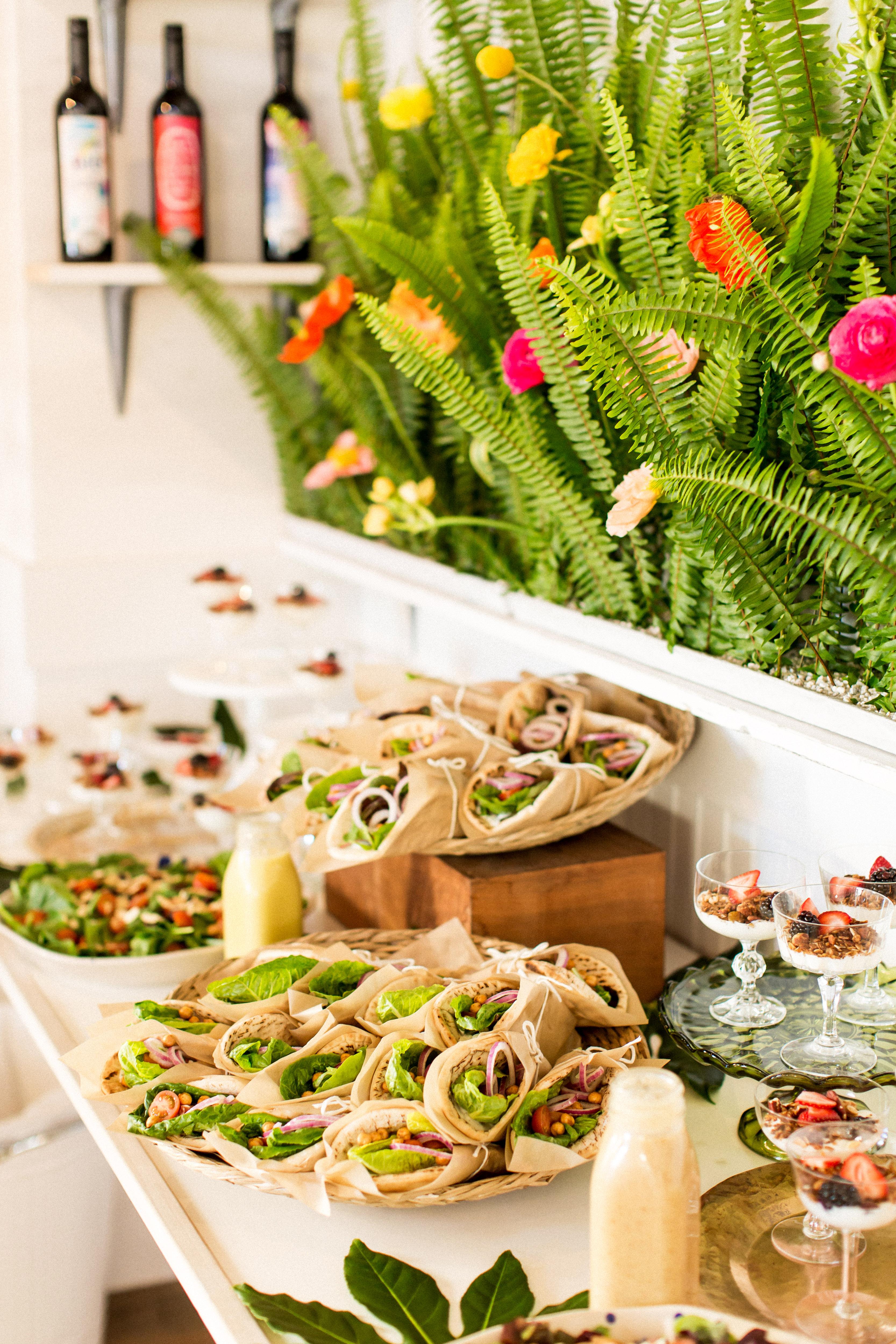 kara bridal shower wraps food buffet