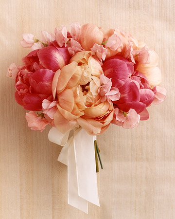 Bouquet with Peonies and Sweet Peas
