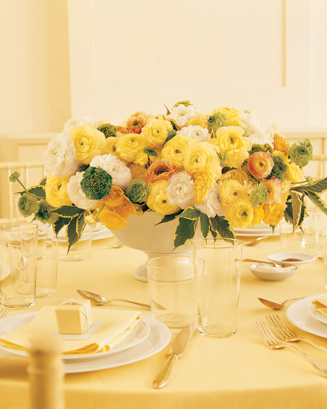 Wedding Centerpiece with Yellow Ranunculus