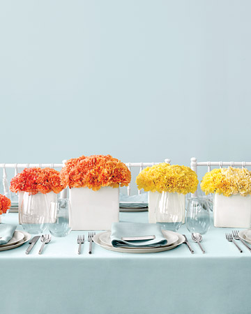 Colorful Carnation-Cluster Wedding Centerpieces
