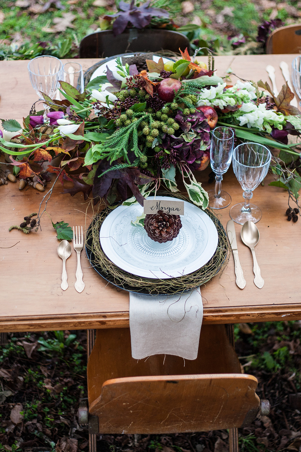rustic wedding centerpieces foliage berry centerpieces