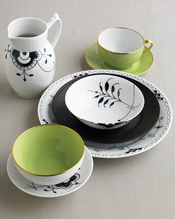 Black, White, and Green Dishes