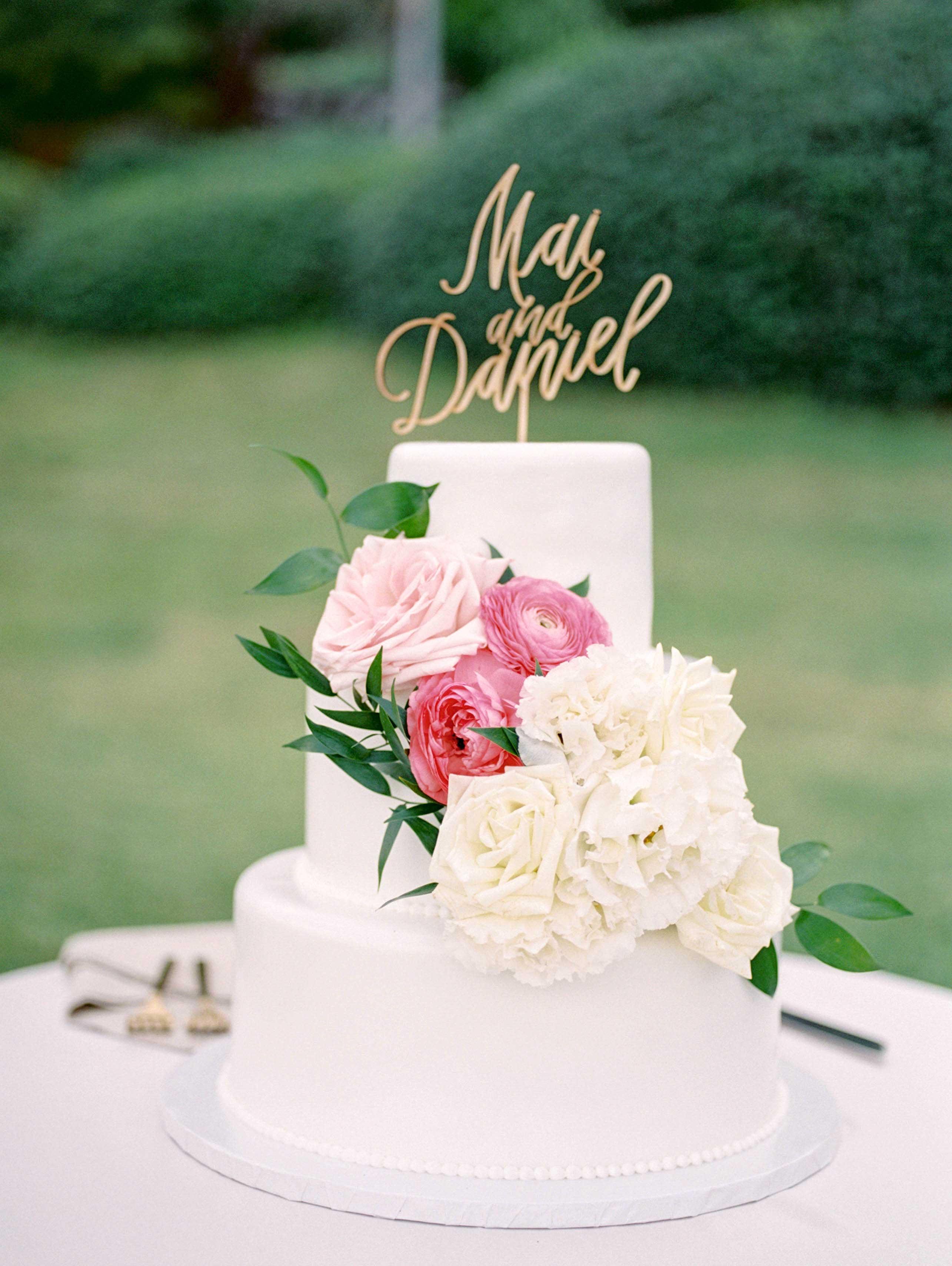 white layered wedding cake