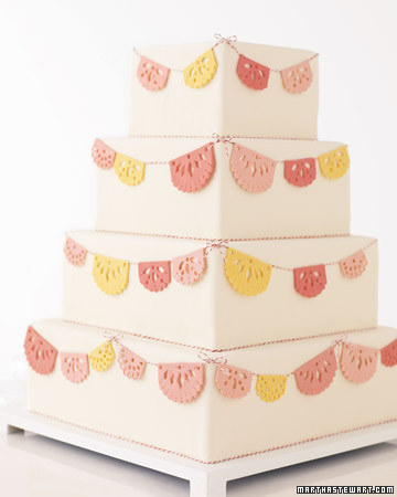 Wedding Cake with Cut Out Flags