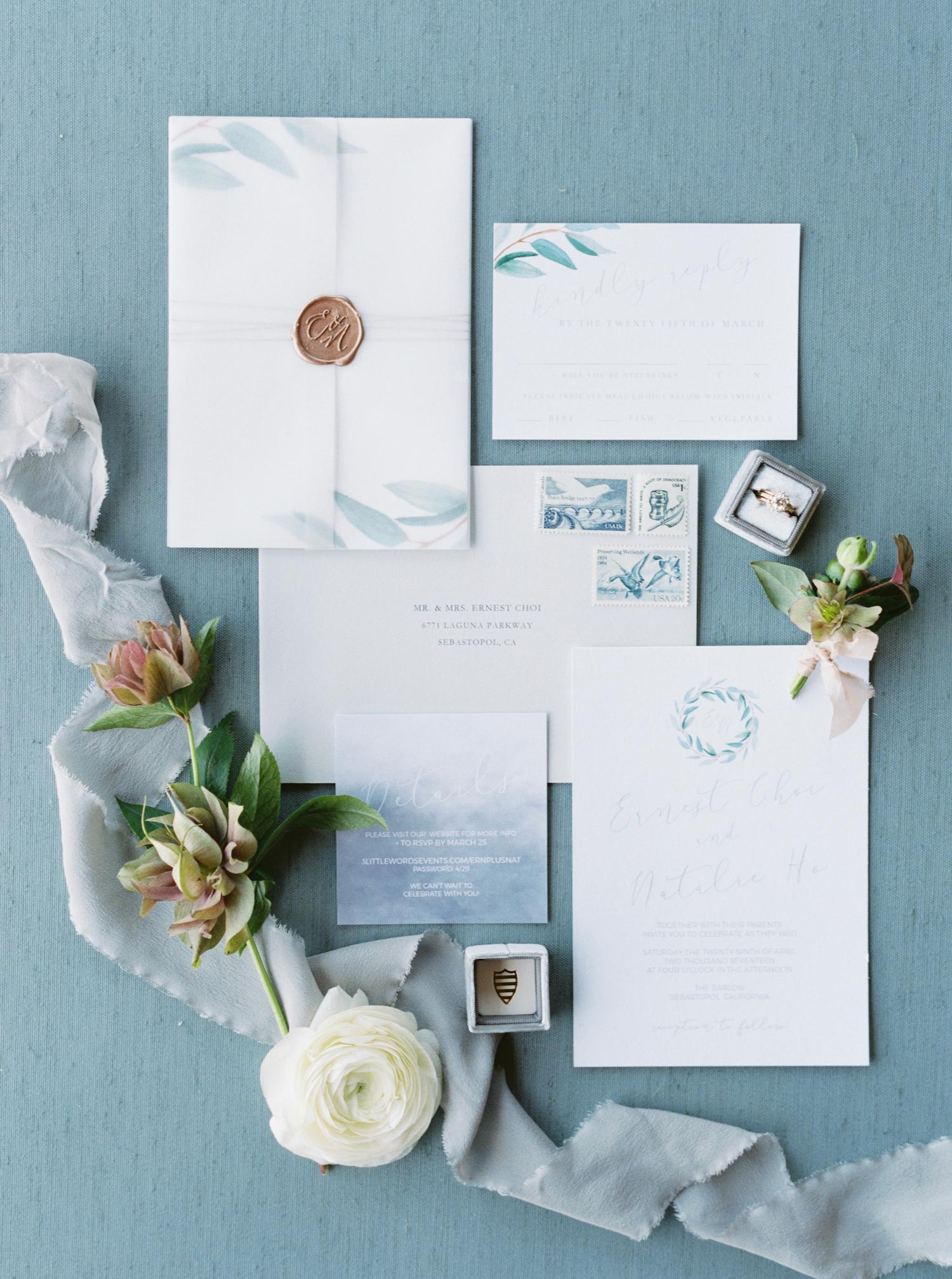 pale blue watercolor wedding invitation
