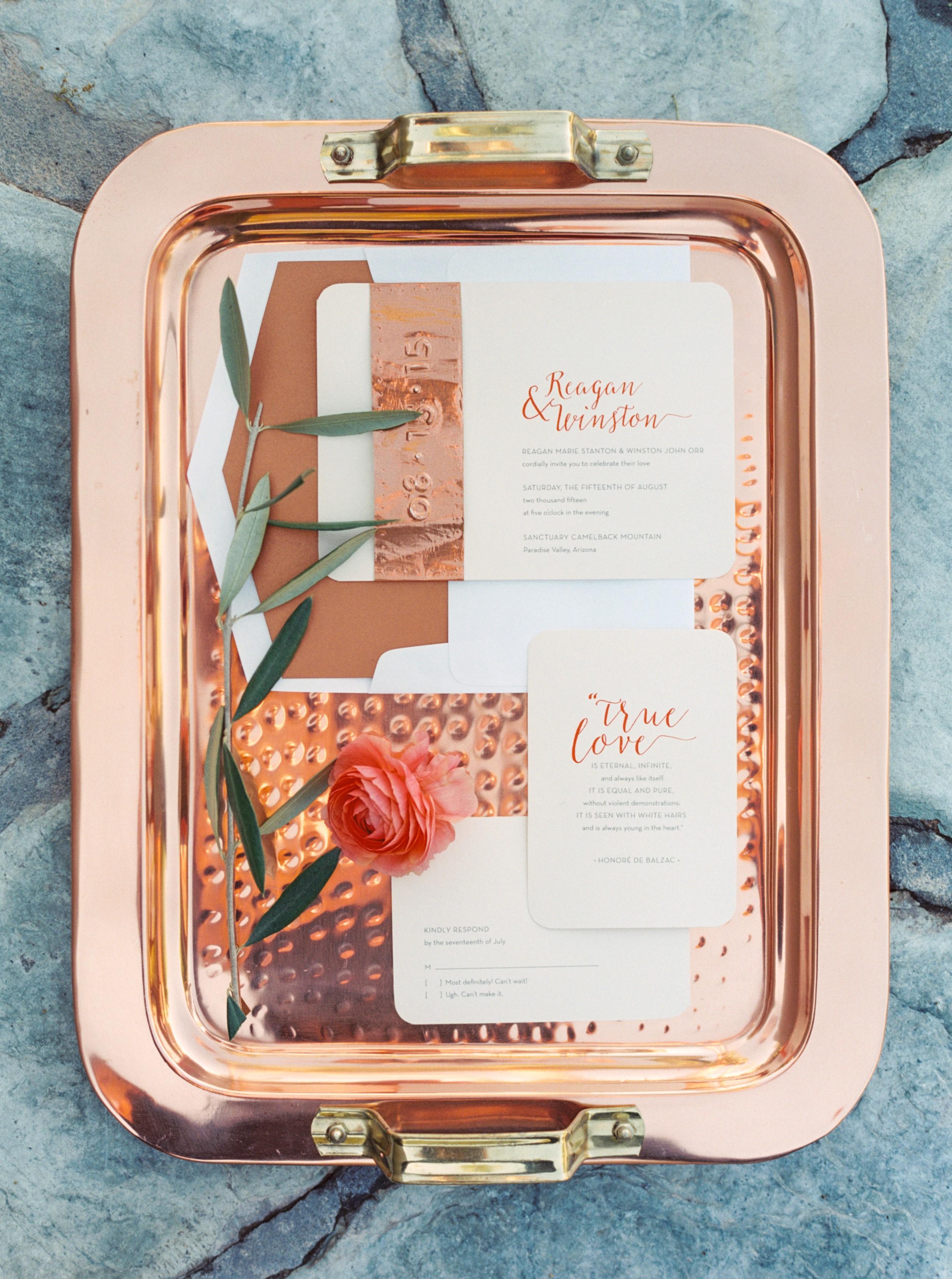 copper foil metallic invitations