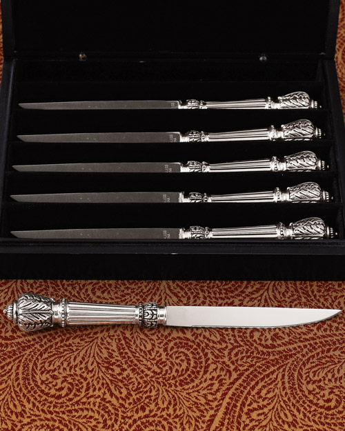 Ornate Silver-Plated Steak Knife