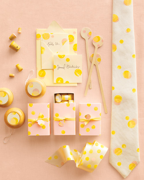Yellow, White, and Pink Polka Dot Decorations