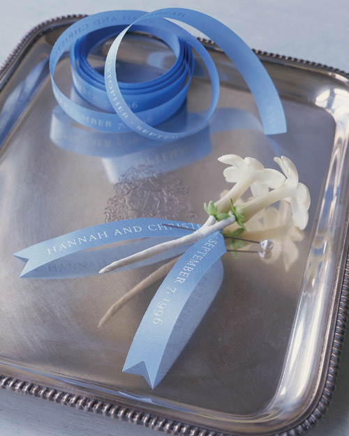 Personalized Ribbons for Wedding Bouquets and Boutonnieres