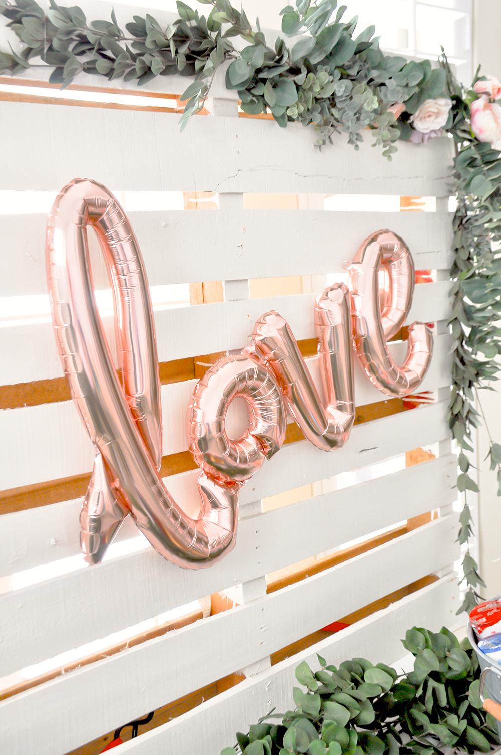 pink bridal shower love balloon