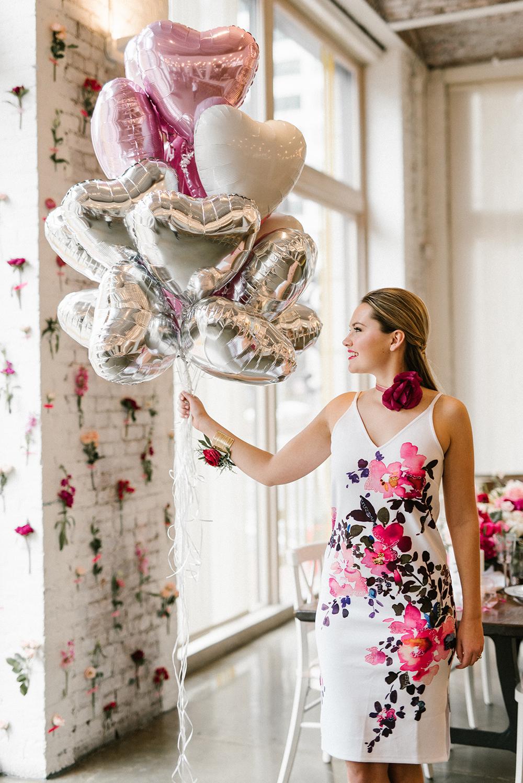 pink bridal shower balloons bride