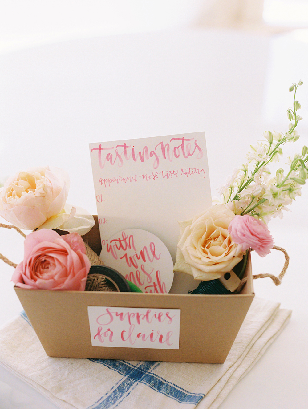 pink bridal shower rose tasting kit