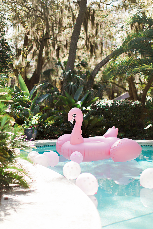 pink bridal shower flamingo pool float