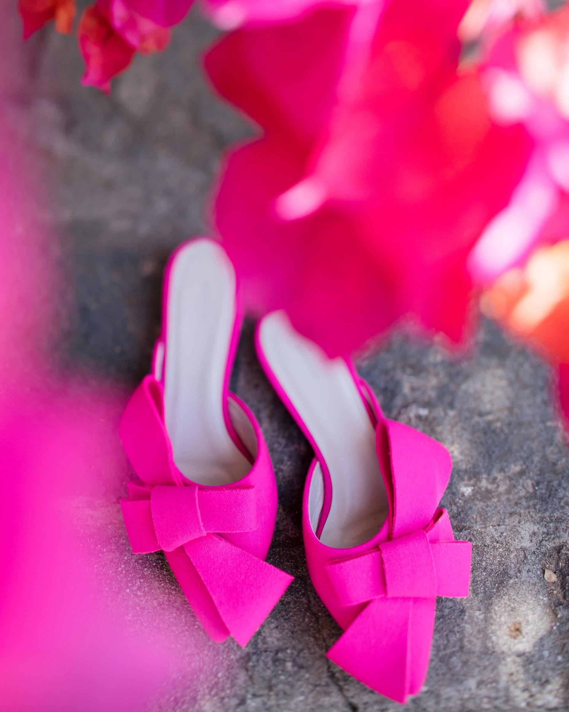 tashina huy colorful wedding pink shoes