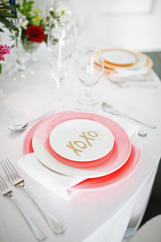 pink bridal shower plates