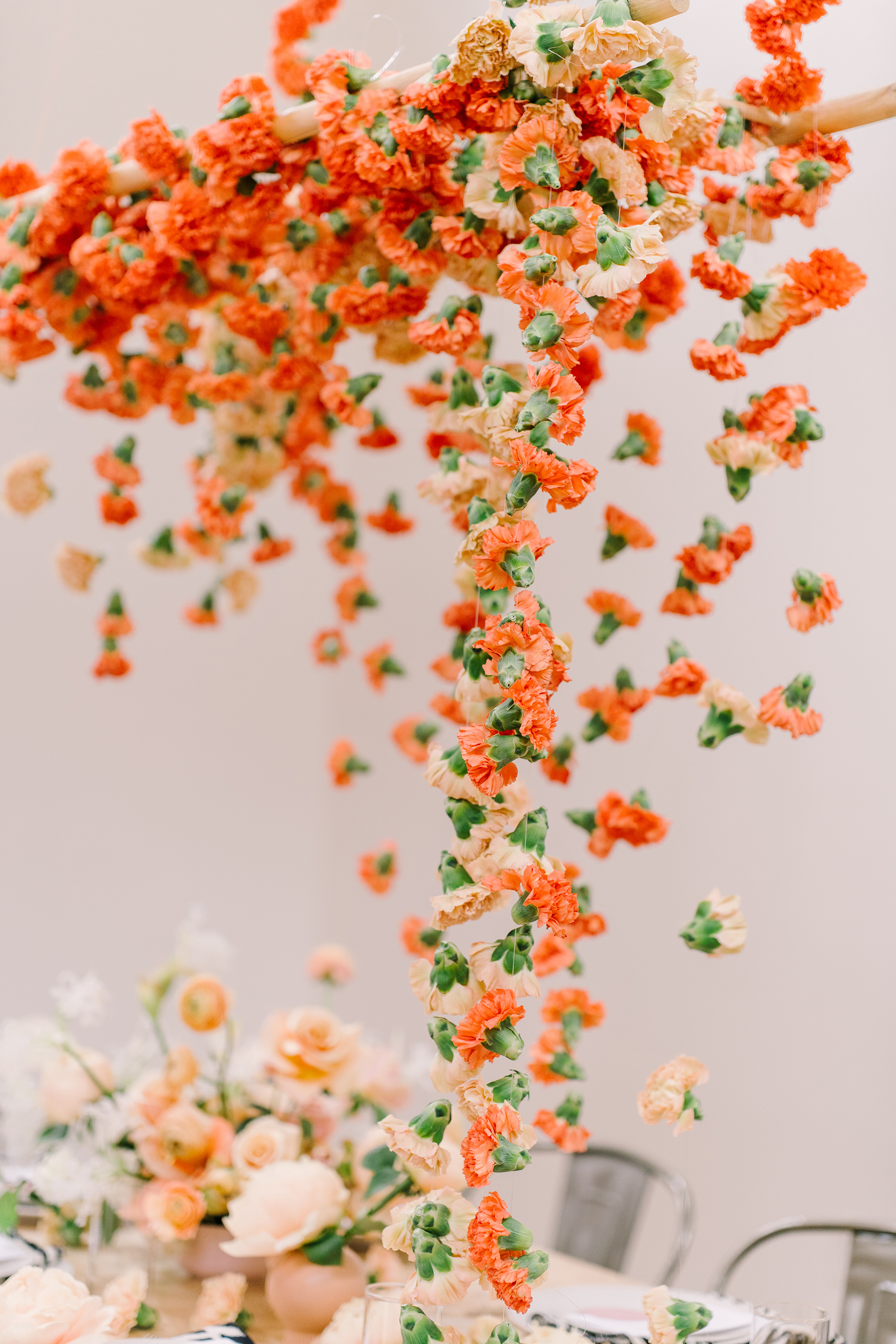 orange carnation garland