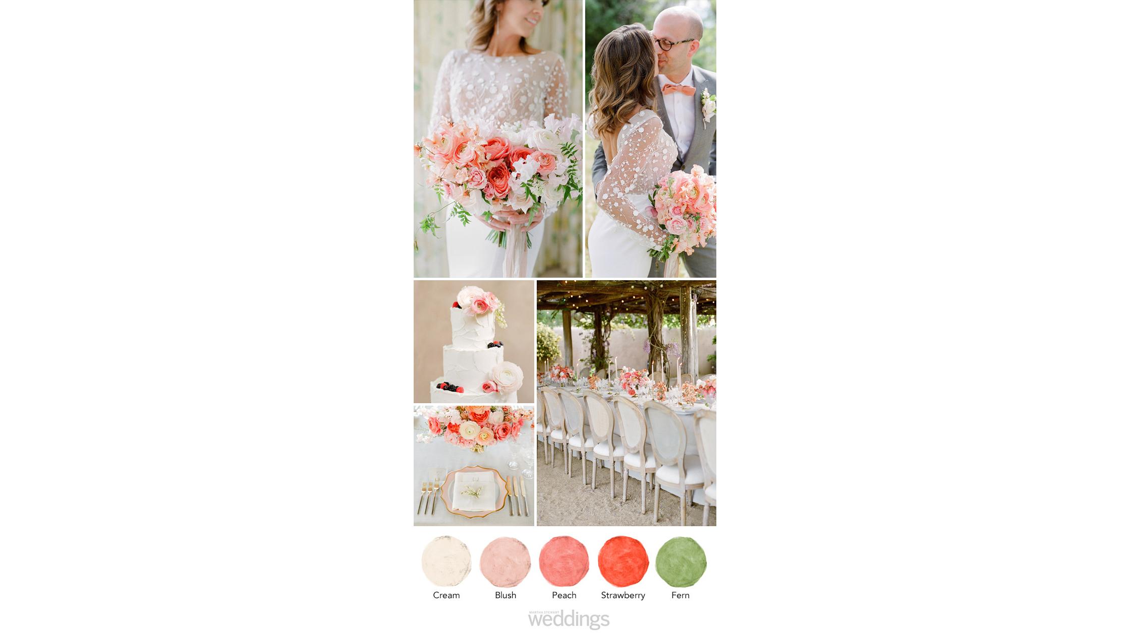 peach garden wedding color palette ideas