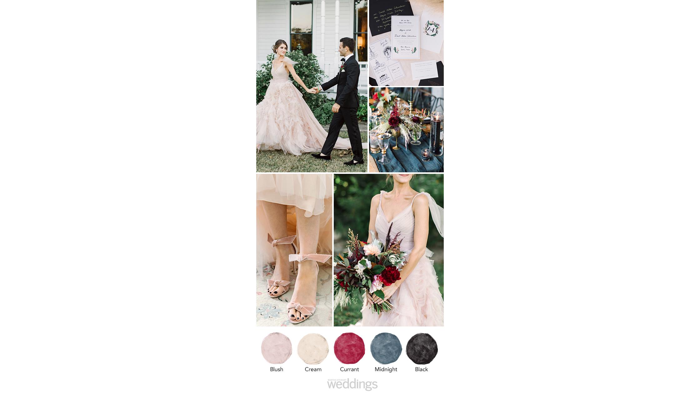 black blush wedding color palette ideas