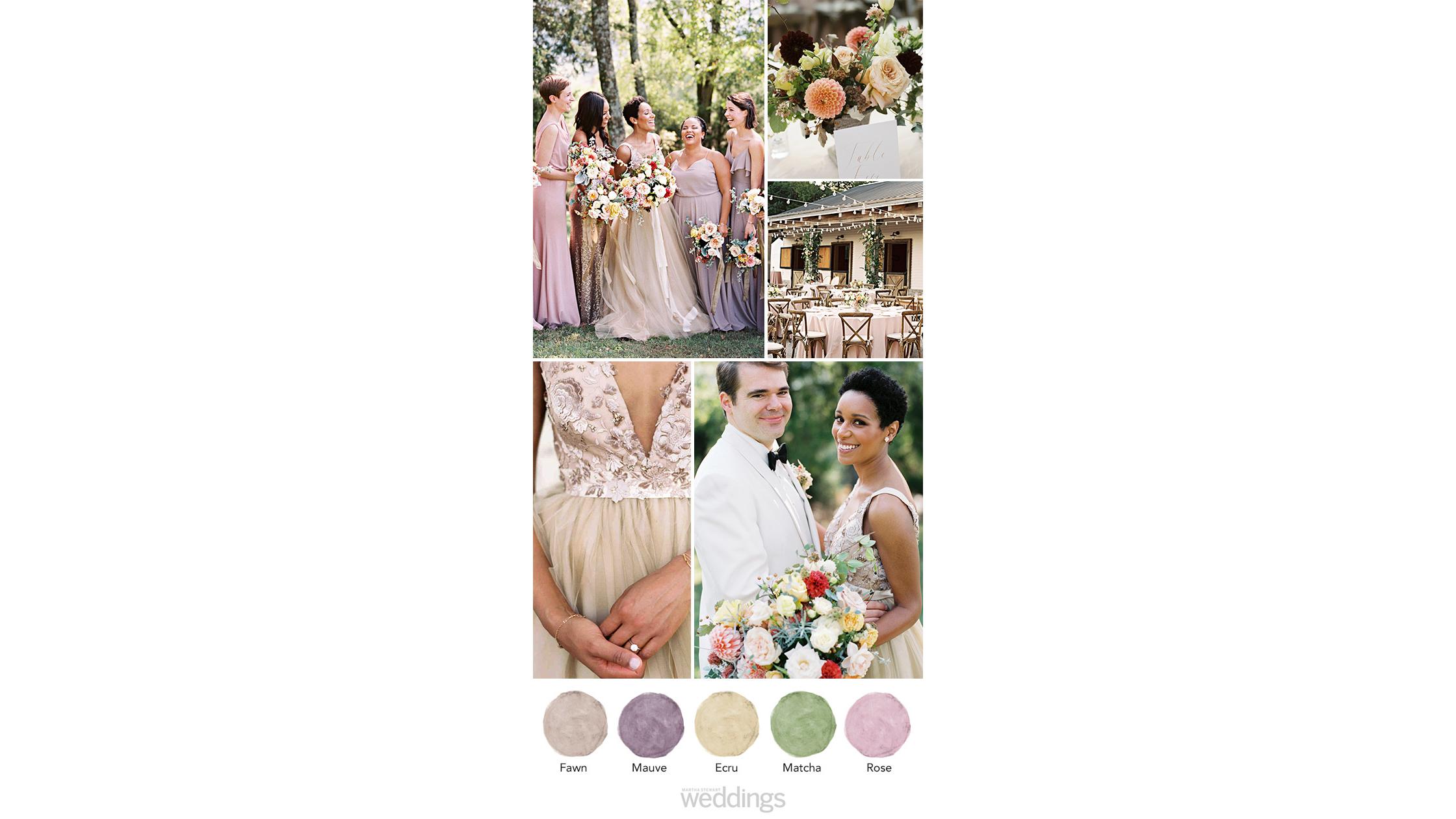 Mauve and Gold wedding color palette ideas