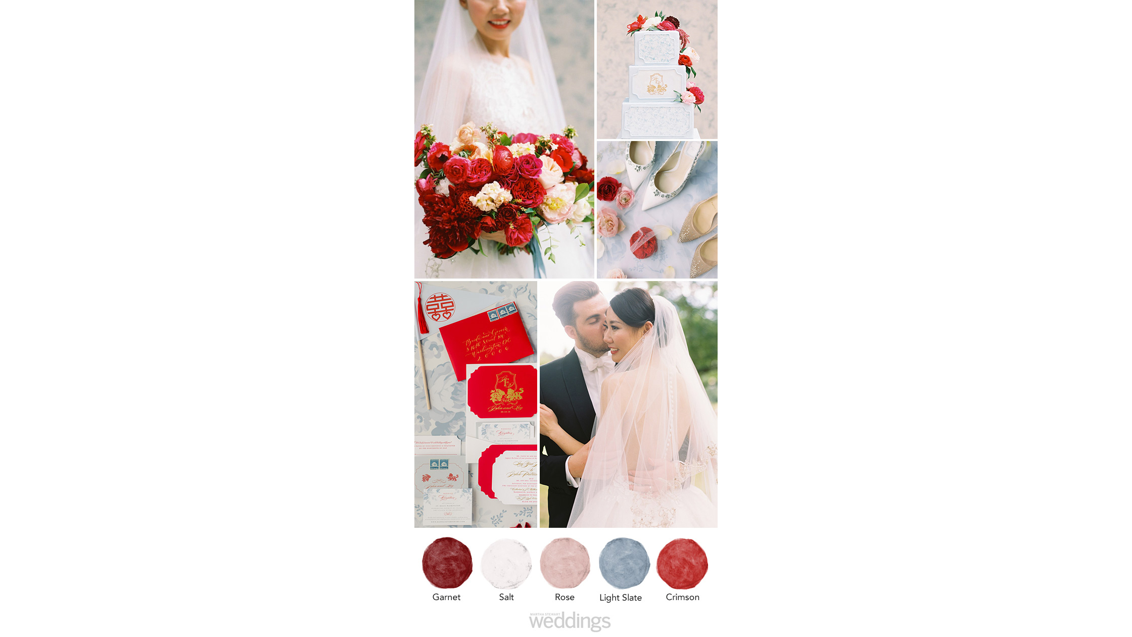 Crimson vivid red soft blue wedding color palette ideas